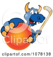 Blue Dragon School Mascot Grabbing A Field Hockey Ball