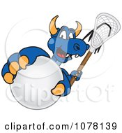 Clipart Blue Dragon School Mascot Grabbing A Lacrosse Ball Royalty Free Vector Illustration