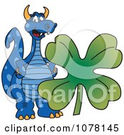 Blue Dragon School Mascot Wth A St Patricks Day Clover