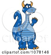 Clipart Blue Dragon School Mascot Waving Royalty Free Vector Illustration