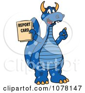 Clipart Blue Dragon School Mascot Holding A Report Card Royalty Free Vector Illustration by Toons4Biz