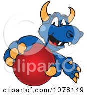 Clipart Blue Dragon School Mascot Grabbing A Ball Royalty Free Vector Illustration by Toons4Biz