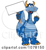 Blue Dragon School Mascot Holding A Sign