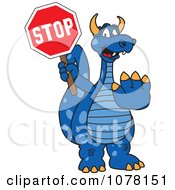 Clipart Blue Dragon School Mascot Holding A Stop Sign Royalty Free Vector Illustration