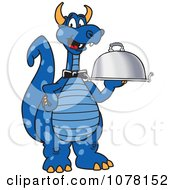 Blue Dragon School Mascot Serving A Platter