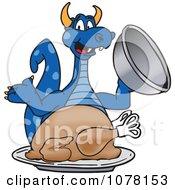 Blue Dragon School Mascot With A Thanksgiving Turkey