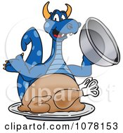 Clipart Blue Dragon School Mascot With A Thanksgiving Turkey Royalty Free Vector Illustration by Toons4Biz