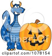 Blue Dragon School Mascot With A Halloween Pumpkin