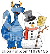 Blue Dragon School Mascot With A Snowman