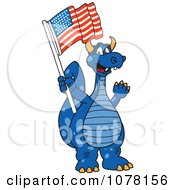 Clipart Blue Dragon School Mascot With An American Flag Royalty Free Vector Illustration
