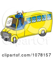 Clipart Blue Dragon School Mascot Driving A School Bus Royalty Free Vector Illustration by Toons4Biz