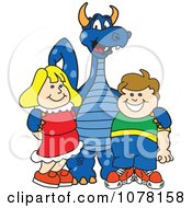 Clipart Blue Dragon School Mascot With Students Royalty Free Vector Illustration