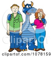 Blue Dragon School Mascot With Parents