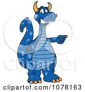 Blue Dragon School Mascot Pointing