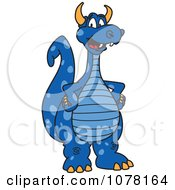 Blue Dragon School Mascot With Hands On His Hips