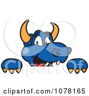 Clipart Blue Dragon School Mascot Looking Over A Sign Royalty Free Vector Illustration