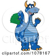 Blue Dragon School Mascot Holding Cash Money