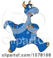 Blue Dragon School Mascot Running With A Football