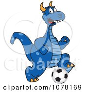 Clipart Blue Dragon School Mascot Playing Soccer Royalty Free Vector Illustration