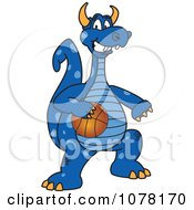 Clipart Blue Dragon School Mascot Playing Basketball Royalty Free Vector Illustration