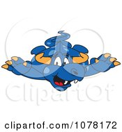 Clipart Blue Dragon School Mascot Leaping Forward Royalty Free Vector Illustration