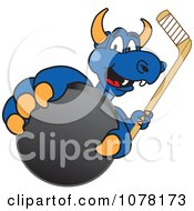 Blue Dragon School Mascot Grabbing A Hockey Puck