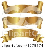 Clipart 3d Blank Golden Parchment Ribbon Banners Royalty Free Vector Illustration
