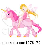 Cute Little Fairy Riding On A Pink Unicorn