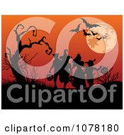 Clipart Silhouetted Kids Trick Or Treating Under Bats A Full Moon And Bare Tree Royalty Free Vector Illustration