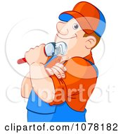 Clipart Thoughtful Plumber Holding A Wrench Royalty Free Vector Illustration by Pushkin