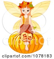 Clipart Autumn Fairy Girl Sitting On A Round Pumpkin Royalty Free Vector Illustration