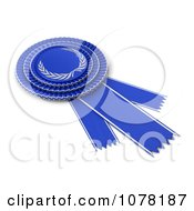 Clipart 3d Blue Award Ribbon With A Silver Laurel Design Royalty Free CGI Illustration