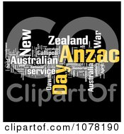 Yellow And White Anzac Day Word Collage