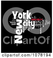 Clipart Red Black And White New York City Word Collage Royalty Free Illustration
