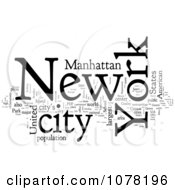 Clipart Black And White New York City Word Collage Royalty Free Illustration