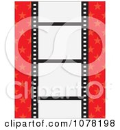 Clipart Film Strip With Blank Frames On A Red Starry Background Royalty Free Vector Illustration