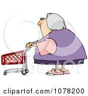 Clipart Senior Woman Pushing A Shopping Cart Royalty Free Vector Illustration by djart