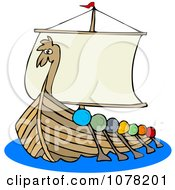 Clipart Viking Dragon Ship With Oars Royalty Free Vector Illustration