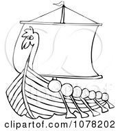 Clipart Outlined Viking Dragon Ship With Oars Royalty Free Vector Illustration by djart