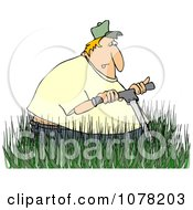 Clipart White Man Mowing In Really Tall Grass Royalty Free Vector Illustration