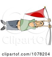 Clipart White Man Holding Onto A Flag Pole In High Winds Royalty Free Vector Illustration