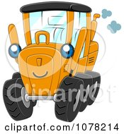 Clipart Blue Eyed Motor Grader Character Royalty Free Vector Illustration