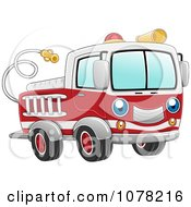 Clipart Blue Eyed Fire Truck Character Royalty Free Vector Illustration