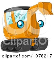 Clipart Blue Eyed Orange Excavator Character Royalty Free Vector Illustration by BNP Design Studio