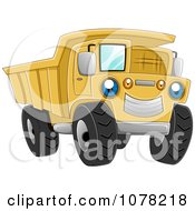 Clipart Blue Eyed Yellow Dump Truck Character Royalty Free Vector Illustration