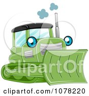 Clipart Blue Eyed Green Bulldozer Character Royalty Free Vector Illustration