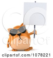 Clipart 3d Ginger Cat Wearing Sunglasses And Holding Up A Blank Sign Board Royalty Free CGI Illustration