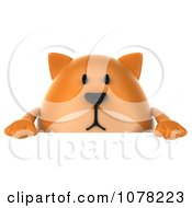 Clipart 3d Ginger Cat With A Blank Sign Board Royalty Free CGI Illustration