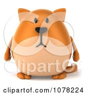 Clipart 3d Ginger Cat Facing Front Royalty Free CGI Illustration by Julos