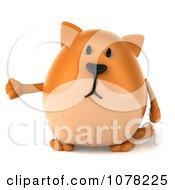Clipart 3d Chubby Orange Cat Presenting Royalty Free CGI Illustration